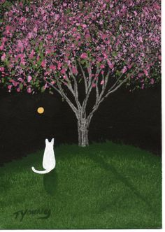 White Cat abstract Folk art PRINT of Todd Young by ToddYoungArt