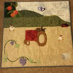 Completed tractor quilt