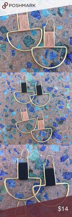 """Goldtone Fabric Wrapped Drop Earrings Goldtone Fabric Wrapped Drop Earrings --- Choose from black fabric wrap or copper fabric wrap --- 2.5"""" drop --- 1.75"""" width --- lead compliant — Box Jewelry Earrings"""