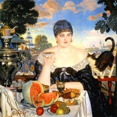 Борис Кустодиев ボリス・クストージエフ(1878-1927)『Купчиха за чаем(お茶を飲む商人の妻)』(1918、ロシア美術館) あまりにも有名な絵だが、豊饒な食卓を強調しながら、遠くに「古き良きロシア」を思わせる風景を配して、一種神話的な雰囲気を醸...