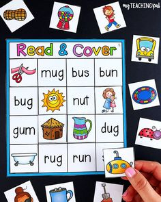 Read and Cover CVC Center - Students match the pictures to the short vowel words. Teaching Phonics, Montessori Activities, Maria Montessori, Preschool Reading Activities, Preschool Literacy, Literacy Skills, Teaching Resources, Kindergarten Centers, Kindergarten Reading