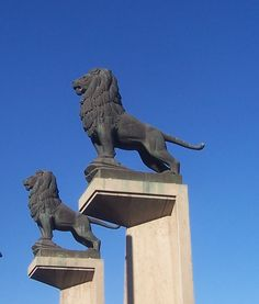 Zaragoza. Puente de Piedra. Leones, obra de Francisco Rallo