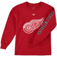 Detroit Red Wings Old Time Hockey Youth Two Hit Long Sleeve T-Shirt - Red - $14.99