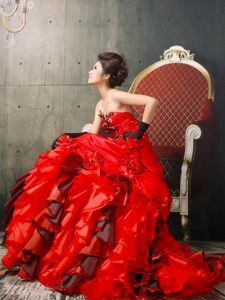 Popular Ball Gown Ruffled Red Beauty Pageant Dresses in California