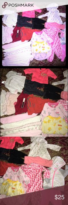 0/3 months baby clothes 24 piece  Included: 6 wrap blankets 5 onesies (orange ,red , 2 pink ,1 white)  2 sleepers bag (yellow  the other one pink ) 0to 12 months   1 very soft sleeper (white& pink) 0/3m   2 outfits (pink pants & white hoodie white sparkle hearts) .... ( pink pants & white sport hoodie ) 3 months  2 pants ( black & navy blue)  1 small white shirt ( it's so cute with any pants color) One little cute hoodie bright orange Carter's Other