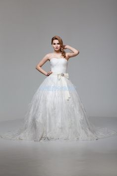 free shipping 2016 new design hot seller handmade bow customize size/color white/ivory balll gown small train wedding dresses
