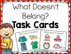 What Doesn't Belong Task Cards - These are great for speech therapy! This includes 24 task cards and three work pages that are great for homework.