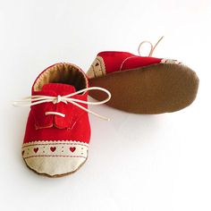 Baby Girl Toddler Shoes Red Canvas with Brogued Leather by ajalor