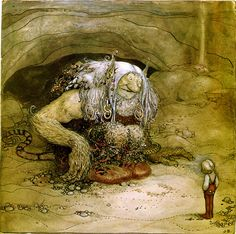 John Bauer (Sweden 1882-1918) - Illustration of Alfred Smedberg's The boy who never was afraid in the childrens' anthology Among pixies and trolls, 1912, via Flickr