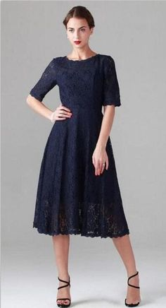 Navy Blue 2015 New Tea Length Mother Of The Bride Dresses Plus Size With Half Sleeves Wedding Party Gowns Mother of the Groom Dress Custom from Maggiebridal,$96.34 | DHgate.com
