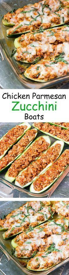 Chicken Parmesan Zucchini Boats - An easy healthy low carb dinner recipe.: