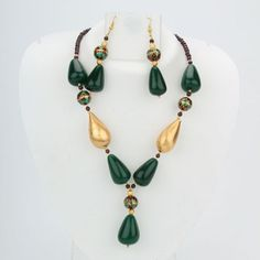 Jade drop with meenakari beads necklace set1850.0000