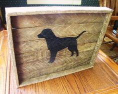 Labrador Retriever stencil art on reclaimed wood