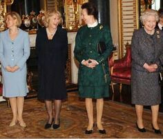 Sophie, Countess of Wessex, Camilla, Duchess of Cornwall, Anne, Princess Royal, and Queen Elizabeth II