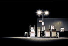 Gas stations at night