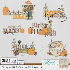 October BAK: Colors of Fall Wordart - HD Creations and Meagan's Creations
