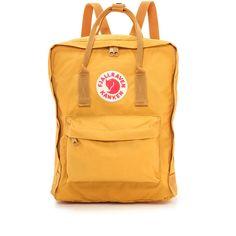Fjallraven Kanken Backpack ($81) ❤ liked on Polyvore featuring bags, backpacks, ochre, rucksack bags, detachable backpack, logo backpack, zipper bag and nylon backpack