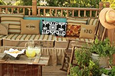 Deck sofa built from reclaimed wood.