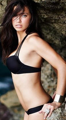 Who made Adriana Lima's black string bikini? Bikini – Victoria's Secret