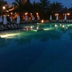 Royal Wings hotel pool at night