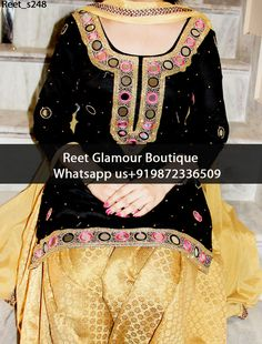 Splendid Black And Beige Embroidered Punjabi Suit  Product Code : Reet_s248 To order, call/whats app on +919872336509 We offer huge variety of Punjabi Suits, Anarkali Suits, Lehenga Choli, Bridal Suits,Sari, Gowns,etc.We Can also Design any Suit of your Own Design and any Color Combination.