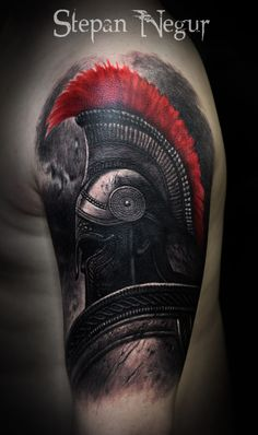 Tattoo Stepan Negur - tattoo's photo In the style Realistic, Male, Warrio Warrior Tattoo Sleeve, Shoulder Armor Tattoo, Warrior Tattoos, Viking Tattoos, Leg Tattoos, Black Tattoos, Body Art Tattoos, Sleeve Tattoos, Norse Tattoo