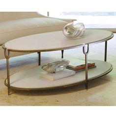Global Views Iron & Stone Oval Coffee Table @Zinc Door.com