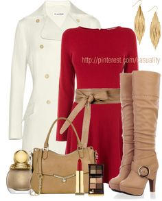 """""""Beige Buckle High Heel Boot & Red Long Sleeve Dress"""" by casuality on Polyvore"""
