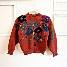 90s  Sunset Garden  Rust Orange Burnt by FrankieMariebyRehcy, $42.99 #90sGrunge #GrungeSweater #1990s #VintageSweater #VintageFashion #VintageLove #90sLove