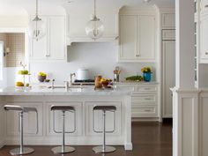 The kitchen decorating experts at HGTV.com share 55 traditional, modern, cottage and contemporary white kitchens that are anything but boring.