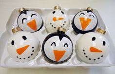Quick and Easy Snowman and Penguin #Ornaments for #Christmas.