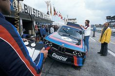 6 Hours race 1974 – the Works BMW 3.5 CSL Number 2 driven by Derek Bell, Jacky Ickx and Toni Fischhaber in the pits. They achieved a slightly disappointing 4th place in practice (8.29,70), 18 seconds slower than their teammates Stuck/Peterson…