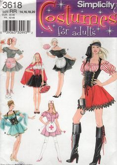 78276ef938 Free Us Ship Simplicity 3618 Sewing Pattern Miss Nurse Maid Pirate Sexy Dress  Costume Size 6 12 14 20 Bust 30 32 34 36 38 40 42 New