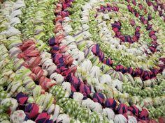 "Rag Rug Round Crochet Handmade  Shabby Cottage 30"" Across Accent Rug #Handmade"