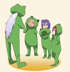 Jiraiya with Yahiko, Nagato and Konan #naruto