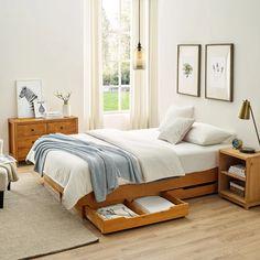 Small Room Bedroom, Room Ideas Bedroom, Bedroom Decor, Master Bedrooms, Solid Wood Platform Bed, Platform Beds, Under Bed Storage, Bedroom Layouts, Bedroom Apartment