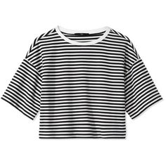 Tibi Ren Stripe Crop Top (275 AUD) ❤ liked on Polyvore featuring tops, tibi, striped crop top, stripe top, black boxy top and striped top