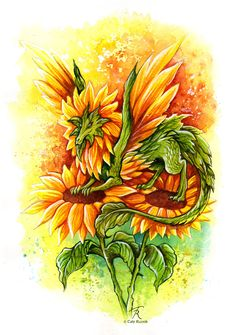 Sunflower Fairy Dragon by TrollGirl on DeviantArt Flower Tattoo Designs, Flower Tattoos, Magical Creatures, Fantasy Creatures, Mythical Dragons, Dragon Series, Dragon Artwork, Beautiful Fantasy Art, Dragon Pictures