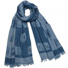 Chinese English Character Seal Stamps on Reversed Background Tassel Ends Cotton Sheer Long Scarf Shawl