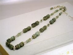 Items similar to Kiwi Jasper Beaded Necklace, Natural Stone Necklace, Sage Green Necklace, Healing Necklace, Power Stones on Etsy Wild Ginger, Kiwi, Natural Stones, Jasper, Beaded Necklace, Crystals, Trending Outfits, Unique Jewelry, Bracelets