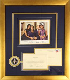 Framed Presidential photo accompanied by a letter received from the white house! Preserved in a gold brushed frame with blue and gold fabric mat boards cut into a custom design.  Framed and designed at Art & Frame Express