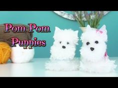 How to make pom pom puppies dog - pompon yarn westy - Isa ❤️ - YouTube