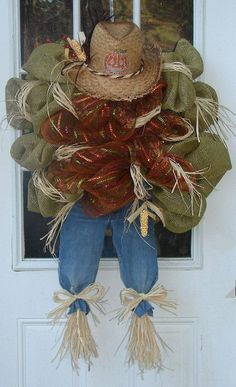 Thanksgiving Amazing Green and Brown Mesh Scarecrow Harvest Wreath - 2015 straw hat, Jeans,