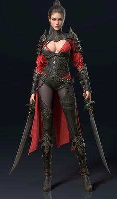f Ranger lvl Med Armor Cloak Dual Swords Underdark ArtStation - girl, huan . - f Ranger lvl Med Armor Cloak Dual Swords Underdark ArtStation – girl, huan gugu – -