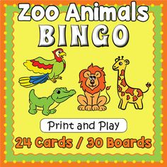 Take a trip to the zoo with this super cute and fun animal bingo game.  It includes 30 unique game boards, plus 24 calling cards and is all set to go for hours of fun.  We recommend that you laminate the boards and cards so that you can use them over and over.