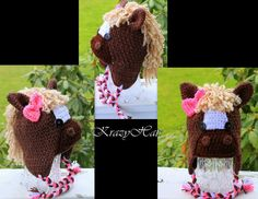 Crochet Horse hat by KrazyHats1 on Etsy, $30.00