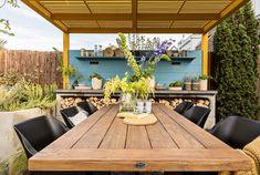 Moderne Mediterrane Tuin – StyleGardens Dark Flower, Mediterranean Garden, Small Gardens, Clematis, Conference Room, Lounge, Patio, Outdoor Decor, Modern