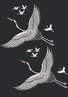 Elegant flying Red Capped Cranes Stencil Large 1 sheet stencil The graceful Large Flying Cranes Stencil depicts a large Red Capped Asian Crane and captures the beauty and elegance of these stunning birds in flight and will enable you to create simply brea Bird Stencil, Stencil Painting, Damask Stencil, Faux Painting, Stencil Patterns, Japanese Patterns, Japanese Art, Crane Drawing, Tatoo Bird