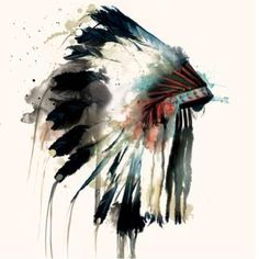 Amazing watercolor Indian Headdress
