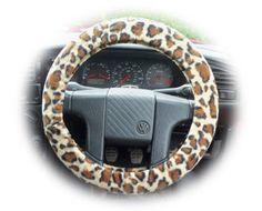 Lovely Leopard print fleece car steering wheel cover animal...